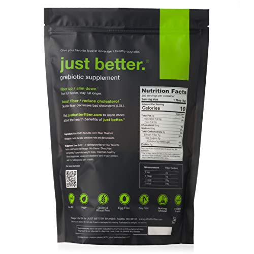 just better. Prebiotic Fiber Supplement Powder - 200 Serving (1200g) Stand Up Pouch by just better. (Image #1)