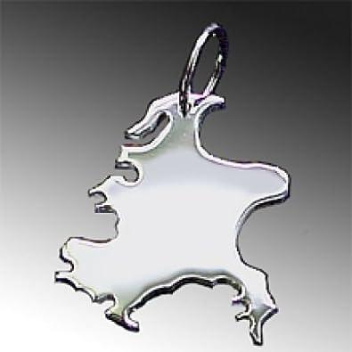 Kettenanhänger silber  Anhänger Silber Landkarte RÜGEN - 925 Sterling Silber ...