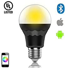 ChiChinLighting Bluetooth LED Light Bulb E27 Smart LED Bulb for  Multicolored Color Changing, 7w (black)Bluetooth LED Bulb Works with Apple iPhone, iPad and Android Phone