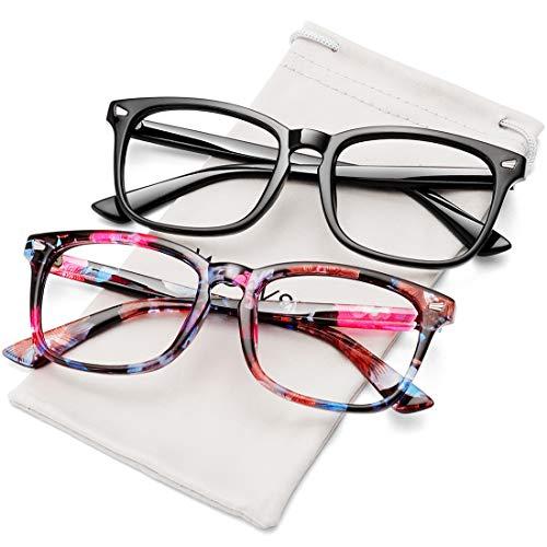 WOWSUN Unisex Stylish Nerd Non-prescription Glasses,Clear Lens Eyeglasses Optical Frames,Fake Glasses (2 PACK Black + Flower Frame/Clear Lens, 53)