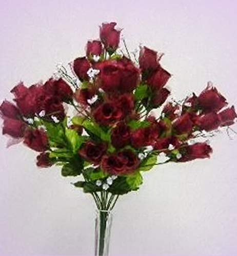 Price comparison product image Inna-Wholesale Art Crafts New 70 Mini Rose Buds Wine Burgundy Silk Bridal Bouquet Craft Decorating Flowers - Perfect for Any Wedding,  Special Occasion or Home Office Dcor