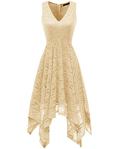 Bridesmay Women's Elegant V-Neck Sleeveless Asymmetrical Handkerchief Hem Floral Lace Cocktail Party DressChampagne S