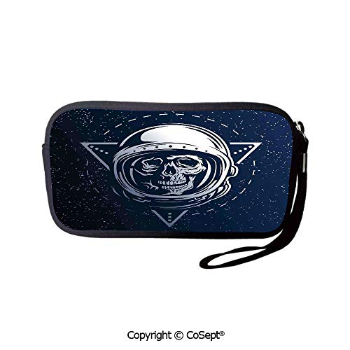 Washable Travel Coin Purse Dead Skull Icon Cosmonaut Helmet As Pencil Case