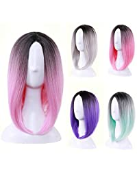 """Wigood 12"""" Ombre Color Bob Female Wig Short Straight Purple Hair with Dark Roots Cosplay Wig(Ombre Pink)"""