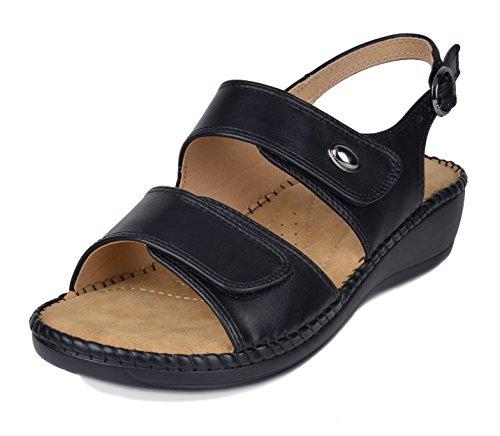DREAM PAIRS Women's Truesoft_03 Black Low Platform Wedges Slingback Sandals Size 11 B(M) US ()