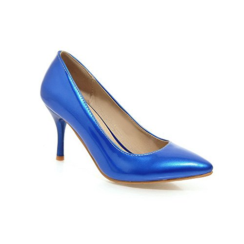 Leather on Shoes Pull Pointed Toe Blue Women's Solid Patent WeiPoot High Pumps Heels Closed g616I0