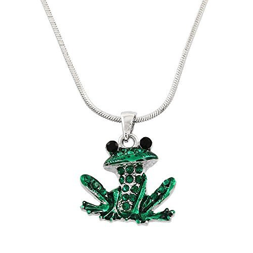 (Liav's Green Frog Charm Pendant Fashionable Necklace / Sparkling Rhinestone Crystal / Rhodium Plated / 17 Snake Style Chain / Unique Gift and Souvenir by Liav's)
