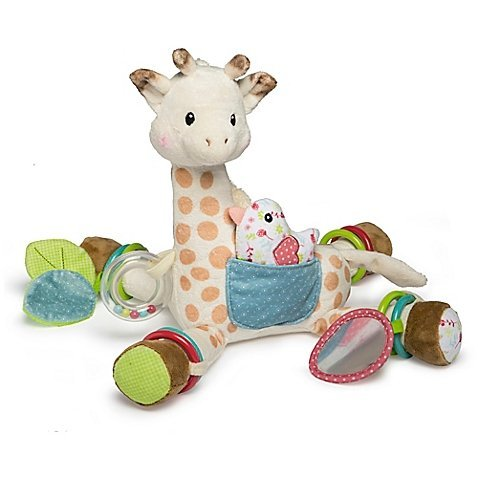 (Mary Meyer Sophie la girafe Adorable Stuffed Animal Activity Plush Toy in White/Brown, Includes Exciting Accessories Such As A Rattle, Squeaker, Bird, Mirror And More, Great Gift For Babies)