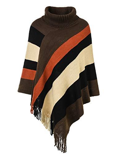 Ferand Women's Striped Turtleneck Oversized Poncho Sweater with Fringes Hems, Upgraded Turtleneck Style: Brown & Beige (Poncho Turtleneck)
