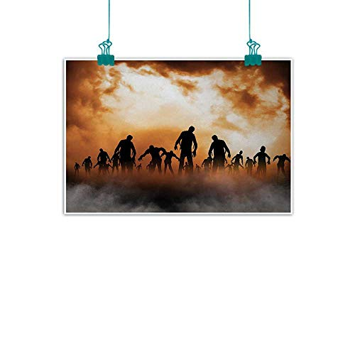 Halloween,Wall Hanging Zombies Dead Men Walking Body in The Doom Mist at Night Sky Haunted Theme Print W 24