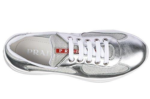 Prada Femme en Chaussures Baskets Sneakers Argent Cuir B4Brq