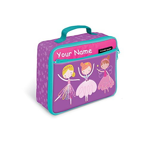 Personalized Crocodile Creek Kids Sweet Dreams Fairy Ballerina Pink and Purple Insulated Lunchbox Lunch Tote