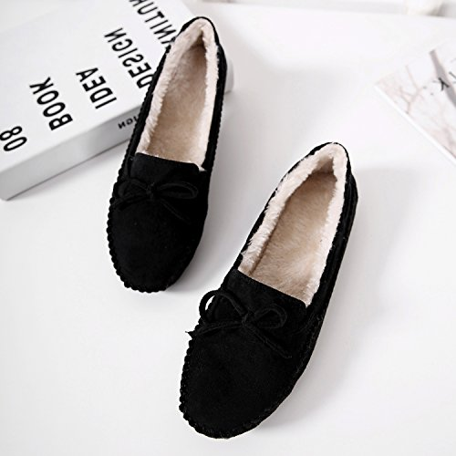 Matt Women's Flat Shoes Plush Wear Fall Black Winter DolphinGirl 7Sqvdxv