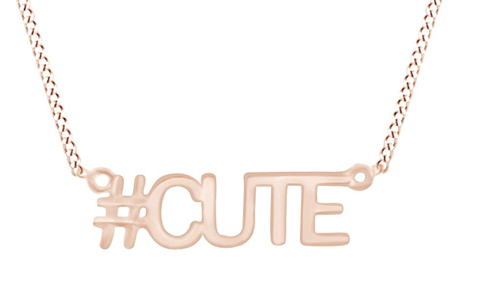AFFY Cute Hashtag Pendant Necklace in 14K Gold Over Sterling Silver