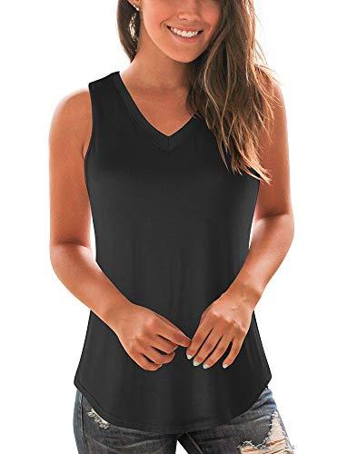 WFTBDREAM Womens Solid Color T Shirts Plain V Neck Basic Tank Top Black - Black V-neck Tank