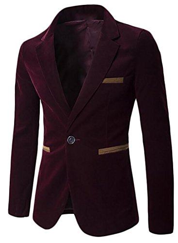 UK Wine today Lapel Blazer Suit Corduroy Block Red Sleeve Color Long Mens ZHRqH6wC