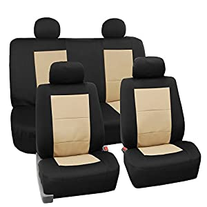 FH Group FB085BEIGE114 Seat Cover Neoprene Blend Waterproof Seat covers Full Set with Bench Beige