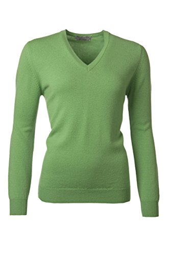 (Great & British Knitwear Ladies HL100 100% Lambswool Plain V Neck Sweater. Made in Scotland (X-Small, Cucumber))