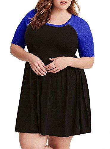 Imysty Plus Size Womens Dresses Raglan A-Line Crewneck Swing Casual Skater Dress (XXX-Large, Blue)