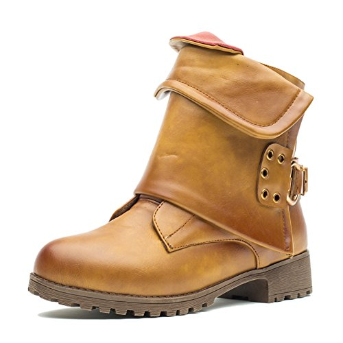 KARKEIN Cowboy Boots Women Leather Motorcycle Combat Boots Wide Calf Side Zipper Ankle Boots