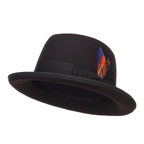 SS/Hat Faux Felt Feather Trim Homburg Hat - Black OSFM
