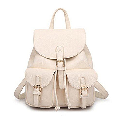 Leather Backpack, Jonon Women's Leather Backpack , PU Leather Backpack for Women, Soft & Fashion Leather Lovely Backpack Cute School bag Shoulder Bag for Girls (White)
