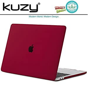 Kuzy - MacBook Pro 13 Case 2017 & 2016, A1706 & A1708 - Rubberized Hard Case (NEWEST Release 2017 & 2016) with/without Touch Bar & Touch ID Shell Cover 13-inch - WINE RED