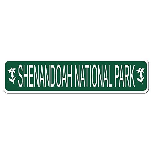 (SHENANDOAH NATIONAL PARK - Green Vinyl on White - 4X17 Aluminum Street Sign)