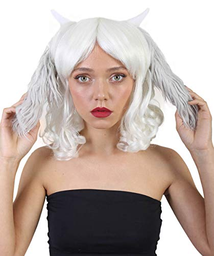 (Halloween Party Online Short Wavy Wig with Horns & Ears, White Adult HW-1092 )