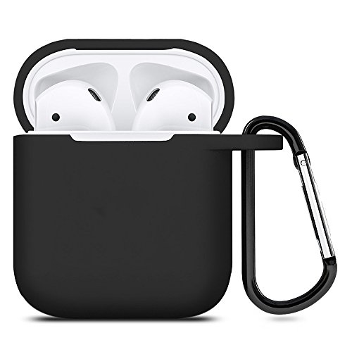 ZALU Compatible for AirPods Case with Keychain, Shockproof Protective Premium Silicone Cover Skin for AirPods Charging Case 2 & 1 (AirPods 1, Black)