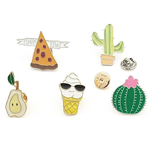 Fruit Brooch Pin (Partyfareast Cute Brooch Pin Set for Backpack/Clothes/Bags (ice Cream Set))