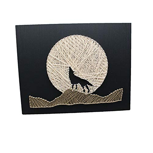 DIY Thread Winding Three-Dimensional Night Wolf Decorative Painting, Home Decor Mural DIY Material Package Decompression Tabletop Decoration Ornament, Parent-Child Manual Interactive Game by Home Decoration (Image #8)