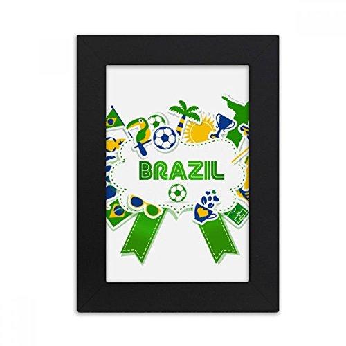 DIYthinker Soccer Football Brazil Cultural Desktop Photo Frame Picture Black Art Painting 5x7 inch by DIYthinker