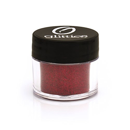 GLITTIES COSMETICS Extra Fine Red Glitter Powder-Make Up Body Face Hair Lips & Nails-(Obsession)