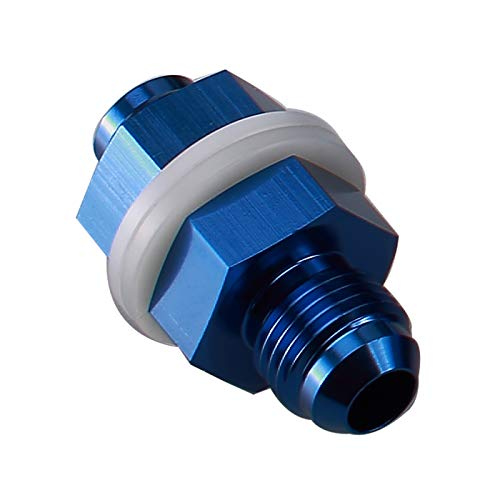 8AN AN8 Straight Blue Aluminum Fuel Cell Bulkhead Adapter Fitting -8AN Locking Nut With Oil-resistant Washer