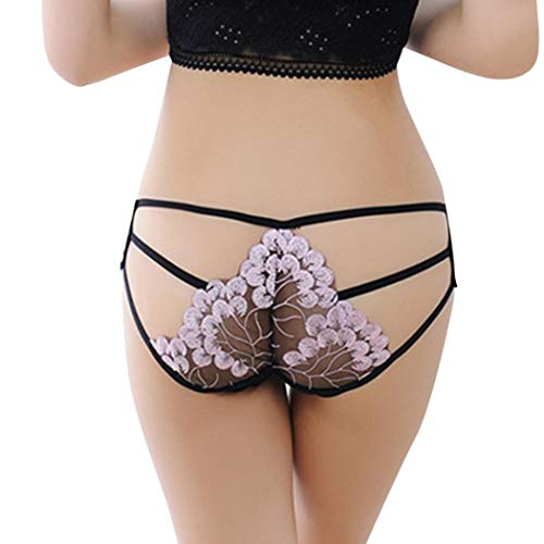 Underwear Womens, Elogoog Floral Embroidery Lingerie Lace Sexy Thong Panties (Pink)