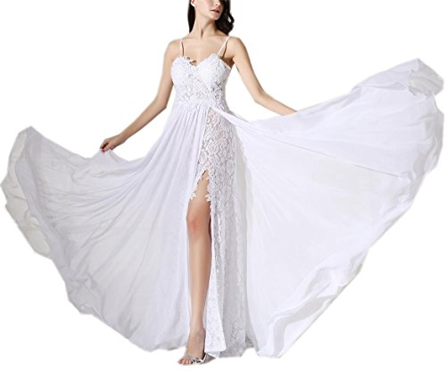 ESY Women's Spagetti Chiffon Empire Backless Beach Wedding Dress White ()