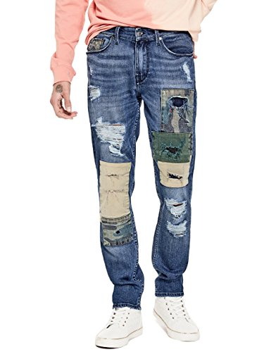 Fabric Tapered Shade - GUESS Men's Slim Tapered Jean, Patchwork Wash Blue, 36