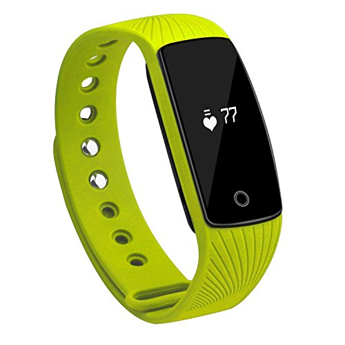 Heart Rate Monitor Fitness Tracker KESSDER ID 107 Activity Tracker with Sleep Monitor Calorie Counter Pedometer ,Call Notification ,Message Alert(Green)