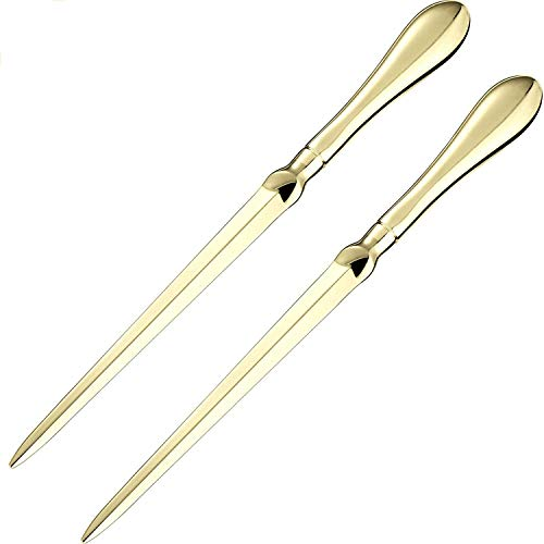 TecUnite 2 Pack Letter Opener Envelope Opener Knife Metal Letter Opening Knife, 9 Inches (Gold Color)