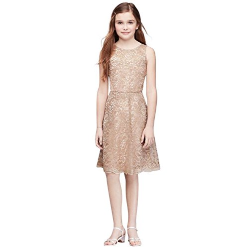 David's Bridal Short Sleeveless Lace Girls Dress Style JB9596, Gold Metallic, 14 by David's Bridal