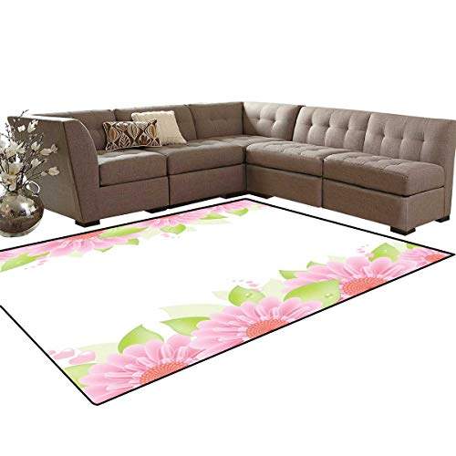Pink and White Kids Carpet Play-mat Rug Botanical Nature Inspired Frame Borders with Fresh Gerbera with Green Leaves Room Home Bedroom Carpet Floor Mat 6'6