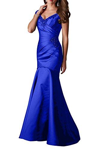 Lang Damen mit Abendkleider ausschnitt Schleppe Trumpet Royal Ballkleider Charmant Elegant Geraft V Satin Blau Figurbetont vSASZPdq