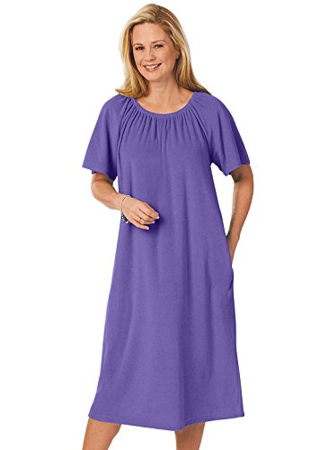 Womens Dress Terry - Terry Pop-Over Dress, Purple, Size Large