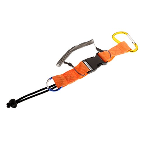 MagiDeal Safety Camera Coil Lanyard Quick Release Clips Buckle for Scuba Diving Snorkeling - Orange (Scuba Release Quick)