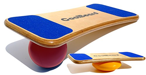 """CoolBoard Balance Board –The only true 3D / 360 balance & exercise training board – Medium with Easy Start Balance Disc & Quickness Speed 6"""" Pro Ball. Wobble Board, rocker board, balance trainer by CoolBoard"""