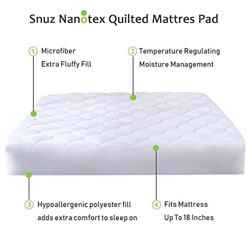 Quilted Fitted Mattress Pad Featuring Nanotex Coolest Comfort Temperature Regulating Cooling Technology. Super Soft SPA Grade Microfiber. Guaranteed to Fit Up to 18 Inch Mattress (Queen Size) by Snuz (Image #2)