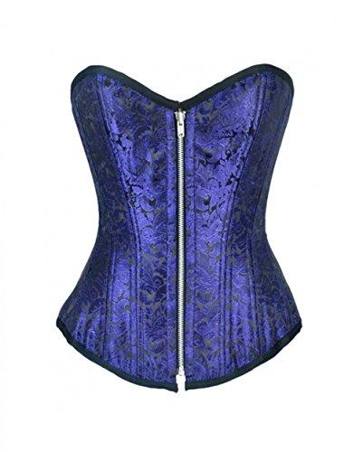 部それら軽減するBlue Brocade DoubleBone Gothic Burlesque Costume Waist Training Overbust Corset