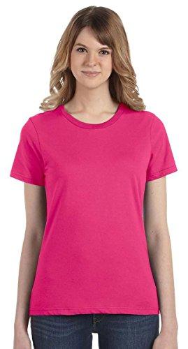 Anvil Women's Ringspun Cotton T-Shirt, Hot Pink, (Evolution Womens Pink T-shirt)