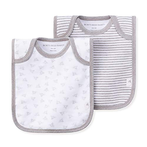 Burt's Bees Baby - Bibs, 2 Pack Lap-Shoulder Drool Cloths, 100% Organic Cotton with Absorbent Terry Towel Backing, Heather Grey, 2 Pack